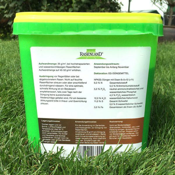 Herbstdünger für Rasen - 5 kg Eimer - Anwendung und Deklaration